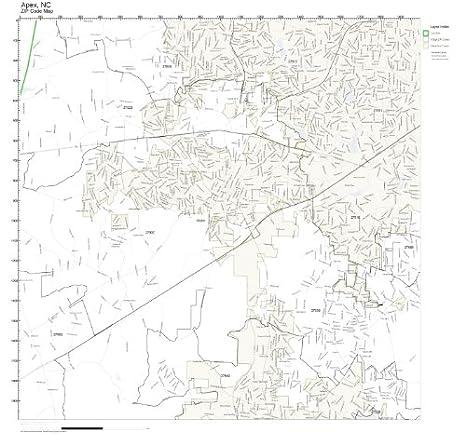 Amazon.com: ZIP Code Wall Map of Apex, NC ZIP Code Map Laminated