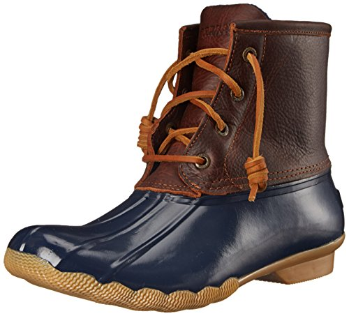 (Sperry Women's Saltwater Rain Boot, Tan/Navy, 7 M US)
