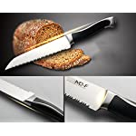 Serrated Bread Knife, High Carbon German Stainless Steel, Sharp Blade, Ergonomic Handle, Professional for Slicing Bread Cake Sandwich Tomato, 8 Inch 14 ★ ULTRA-SHARP EDGE ★It Is Manually Edged In V-Shape Through Quenching, Heat Treatment And Tempering To Ensure The Durable Sharpness ★ ERGONOMICALLY DESIGNED ★The Curved Handle Is Ergonomically Designed With 45 Degrees Polished Blade Back Offering Comfortable Control. The Blade And Handle Are Forged Together To Make A Safer, More Clean And More Durable Knife ★ NEATLY CUT ★ Serrated Blade, Neatly Cut, Nearly No Scum When Cut Bread