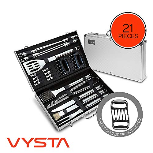 Vysta 21 Piece Grill Accessories Tools Set - BBQ Utensils with Carrying Case - Stainless Steel Outdoor Cooking Grilling - Barbeque Kit Includes Brushes, Flat Spatula, Barbecue Scraper and Meat Tongs (Best Gift Exchange Ideas Under $50)