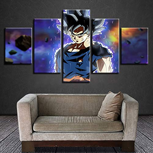Fbewan Impressions sur Toile Dragon Ball Z Image Imprimée sur Toile 5 Panneaux Imprimer Super Saiyan Wall Art Impression…