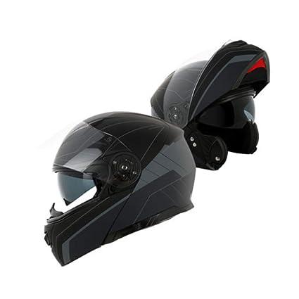 YSH Cascos De Moto Motocross Racing Casco Moto Cara Completa Flip Up Integrado Doble Lente Modular