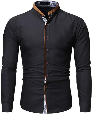 Heetey Camisa para Hombre, Ajustada, Camisa de Negocios, Estampada, Manga Larga, Camisa de Manga Larga, Estilo Business, Informal, Camisa de Cuadros: Amazon.es: Ropa y accesorios