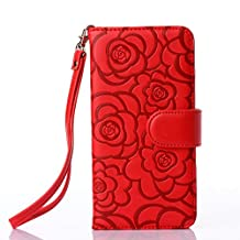 iPhone 6s case,iPhone 6 4.7inch case,Liujie [Wallet Stand] PU Leather Wallet Flip Protective Case with Card Slots and Wrist Strap for iPhone 6 6s Case (red)