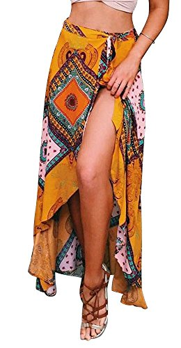 RUIGO Women's High-Waisted Boho Asymmetrical Hem Tie up Long Maxi Print Wrap Skirt (M, Yellow)