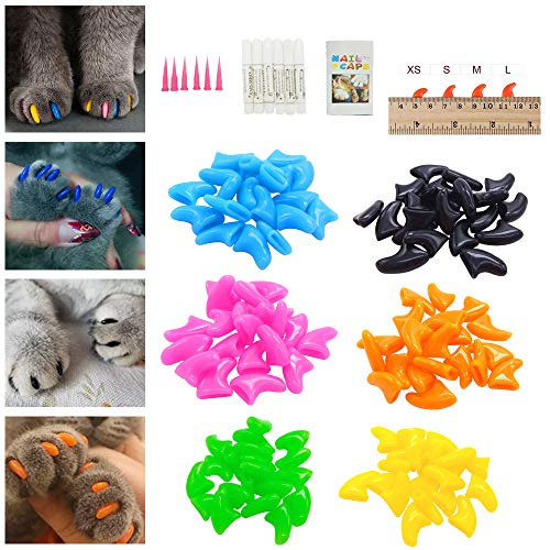 Fanme Cat Nail Caps Pet Claws Rubber Covers Paws Care for Small Cat with Glue and Applicators 6 Colors 120Pcs (S)