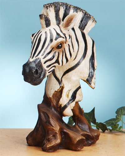 12 Inch African Zebra Head and Bust Figurine Statue Black and White