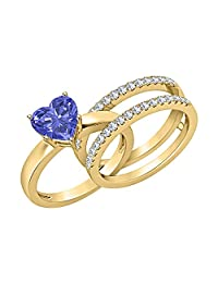 3.00 ct.tw Heart Shaped Created Tanzanite with White Sapphire 14K Yellow Gold Plated Enhancer Wedding Ring Set