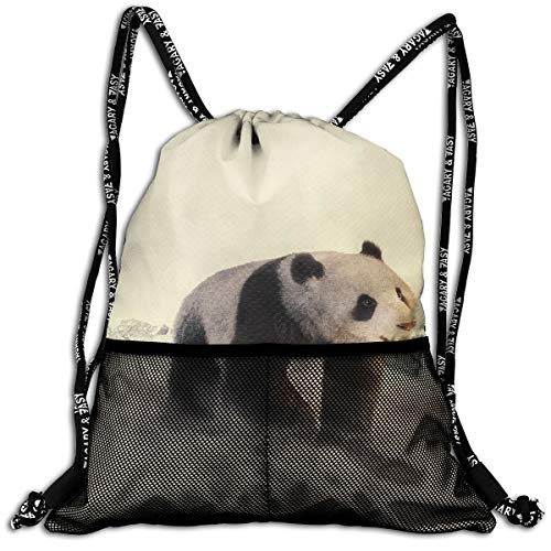 Drawstring Backpacks Cold Winter Panda Leisure Bundle Backpack Beam Backpack Sport Gym Travelling Bag