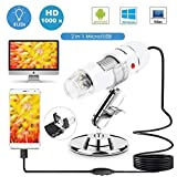 Sunnywoo USB Digital Microscope,40 to 1000x Magnification Endoscope 8 LED USB Microscopes,Mini Camera with OTG Adapter and Metal Stand,Compatible with Mac Window 7 8 10 Android Linux(White)