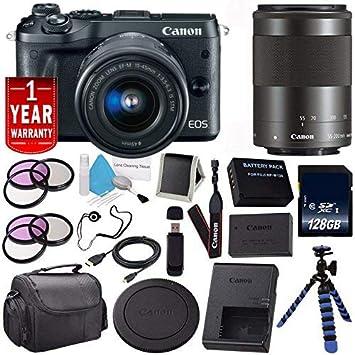Canon EOS M6 sin Espejo Digital Cámara (Negro) Modelo 1724 C001 ...