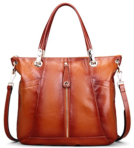 8933d1f0b4 AINIMOER Women Vintage Soft Genuine Leather Tote Shoulder Bag Top-handle  Cross body Handbags Ladys Purse