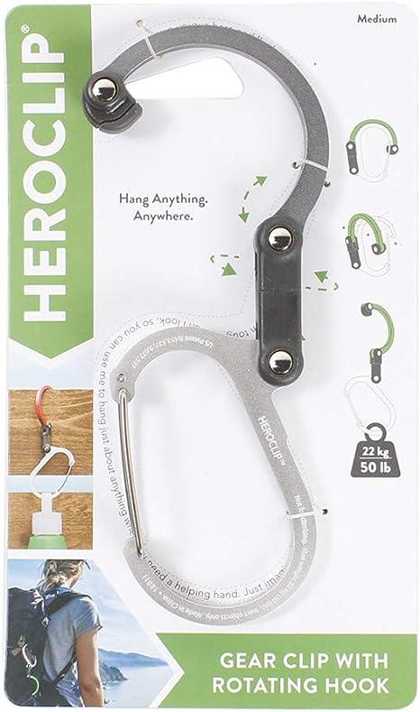 HEROCLIP Carabiner Clip /& Gear And Rotating Hook For Camping-Medium
