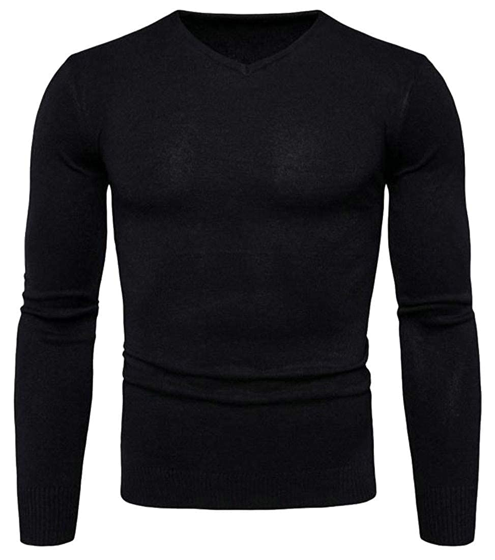 Lutratocro Mens Long Sleeve Pullover Knitted V-Neck Casual Jumper Sweaters