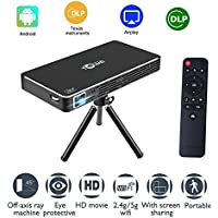 ESHOWEE C800 Pico Projector Android Wi-Fi Bluetooth Office Portable Projector, Outdoor/Indoor Home Projector Support 1080P, LED Projector