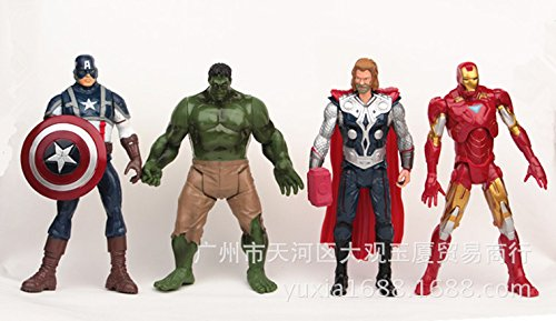 hot ! NEW 4PCS/set 20cm Avengers Super Heroes Captain America Thor Hulk Iron Man PVC Action Figure Model toys Christmas gift toy
