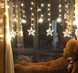 Twinkle Star 12 Stars 138 LED Curtain String Lights, Window Curtain Lights with 8 Flashing Modes Decoration for Christmas, Wedding, Party, Home, Patio Lawn, Warm White
