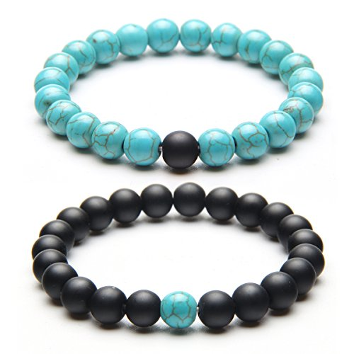 YUXI 2 PCS/Set 8 mm Beads Stone Couple Distance Strand Bracelet Lovers Gifts Jewelry (Black & Blue) (Blue Agate Turquoise)