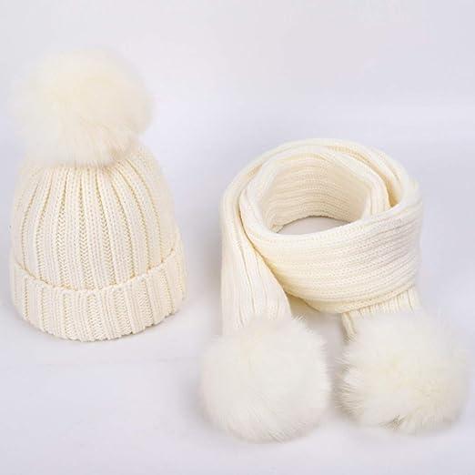 Otoño e Invierno niños Gorro de algodón de Punto cálido niños niño ...