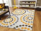 New Fashion Luxury Soft Carpets for Bedrooms Circles Rug for Bedroom for Teens Polka Dot Rugs 5×8 Modern Rugs For Living Room 5×7 Yellow Grey Cream Brown Contemporary, 5×8 Rugs Review
