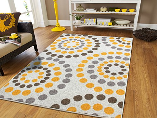 Amazon.com: New Fashion Luxury Soft Carpets For Bedrooms Circles Rug For  Bedroom For Teens Polka Dot Rugs 5x8 Modern Rugs For Living Room 5x7 Yellow  Grey ...