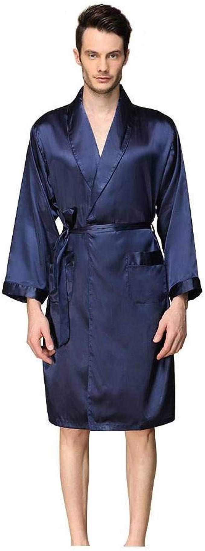 Herren Satin Seide Kimono Bademantel Robe Locker Nachtwäsche Hausanzug