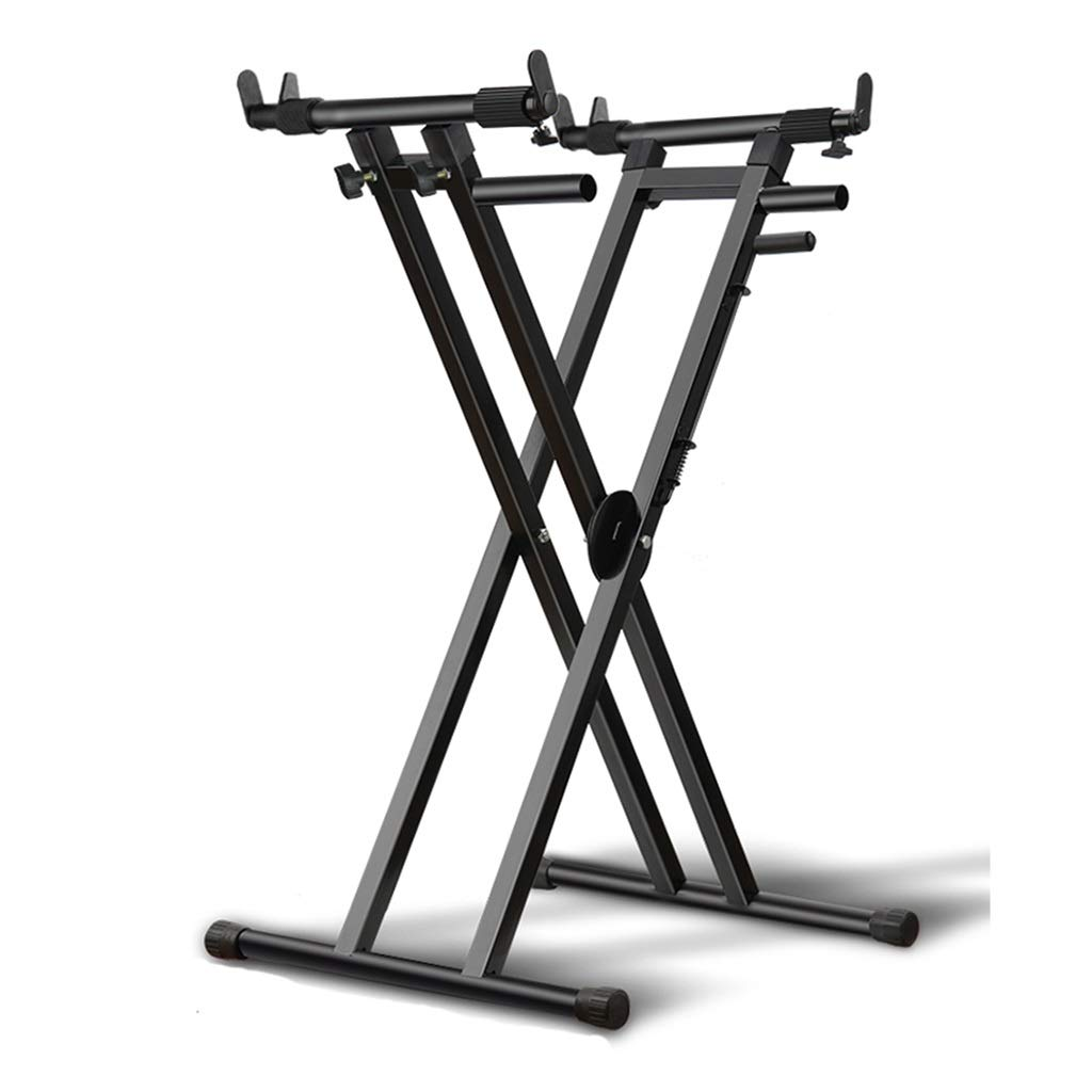 Synthesizers & Workstations Keyboard Stand Piano Stand Keyboard Stand and Bench Set Iron Band Corner Electronic Piano Stand 61 Key 76 Home Instrument Stand (Color : Black, Size : High 111cm) by Synthesizers & Workstations