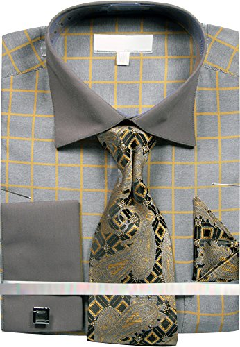 Sunrise Outlet Men's Grid Checkered Pattern Dress Shirt French Cuffs Tie Hanky Cufflinks - Gray Gold 18.5 36-37