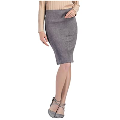 AISKLY Women Suede Midi Skirt Female Multi Color Basic Tube Bodycon Pencil Skirts