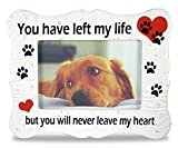 Banberry Designs Pet Memorial Ceramic Picture Frame - You Have Left My Life But You Will Never Leave My Heart - Loss of a Pet Gift - Pet Photo Frame - Pet Sympathy Gift - in Memory of a Pet