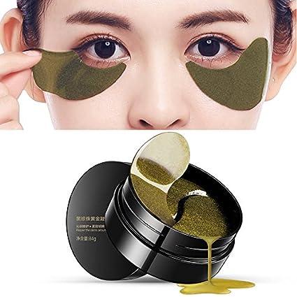 Bluelover Ojo Máscara Piel Cuidado Negro Perla Gel Máscara Colágeno Cristal Ojo Máscara Oscuro Círculo Párpado