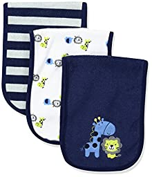 Gerber Baby 3 Pack Terry Burpcloth, Safari, One Size