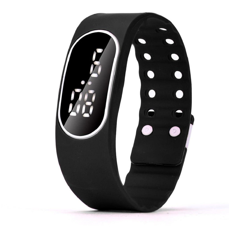 ユニセックスLEDスポーツ腕時計hosamtelメンズレディースゴムストラップ日付デジタルブレスレット腕時計 5X1.8cm ブラック  ブラック B0784T7JHL