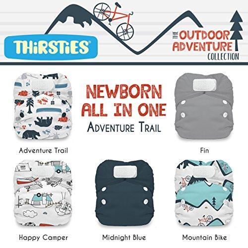 Thirsties Aio - Thirsties Package, Newborn All In One Hook & Loop, Outdoor Adventure Collection Adventure Trail
