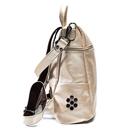 ALI VICTORY - Bolso mochila  para mujer Medium champán