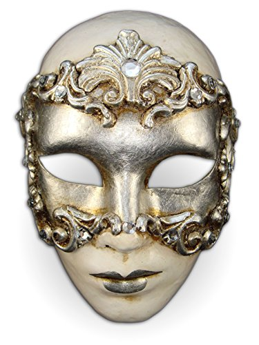 Voltes 5 Costume (Venetian Full Face Mask Volto Baroque for Women (silver))