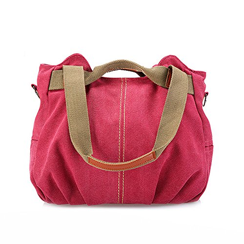 Shopper Top Casual Ladies Purse Handle Tote Hobo Red Daily Shoulder Women's Canvas Embroidery Vintage Vintage Handbag OpfwzUqz