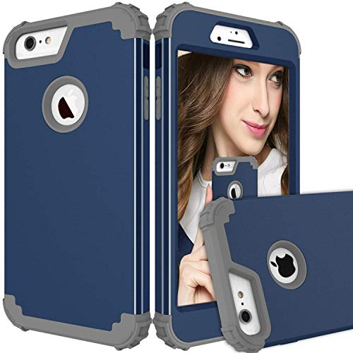 Maxcury iPhone 6 Plus Case iPhone 6s Plus Case, Hybrid Heavy Duty Shockproof Full-Body Protective Case with Three Layer Impact Protection for Apple iPhone 6s Plus 5.5 inch - Navy and Dk Grey
