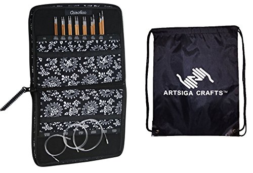 ChiaoGoo Bundle: Spin Interchangeable Knitting Needle Set Small Needles: Size US 2 (2.75mm) - Size US 8 (5mm) with 1 Artsiga Crafts Project Bag 2500-S by Artsiga Crafts ChiaoGoo