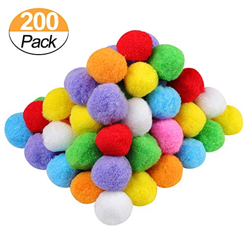 (1.5 Inch Assorted Pom Poms for DIY Creative Crafts Decorations, Assorted Colors (200 Pack))