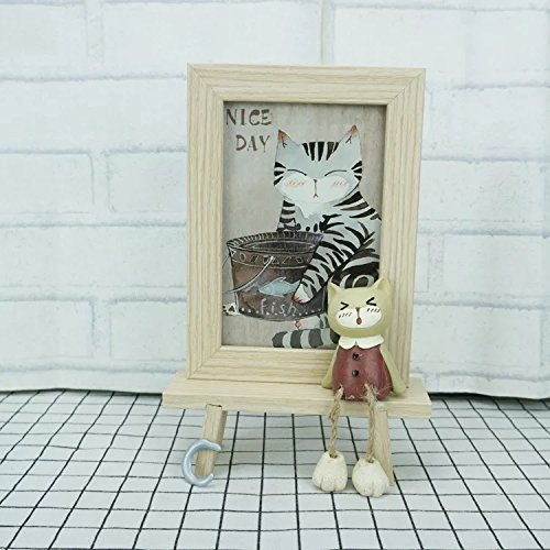 DecentGadget 4X6 Wooden Animal Picture Frame With Artificial Cat (Boy) by DecentGadget (Image #2)