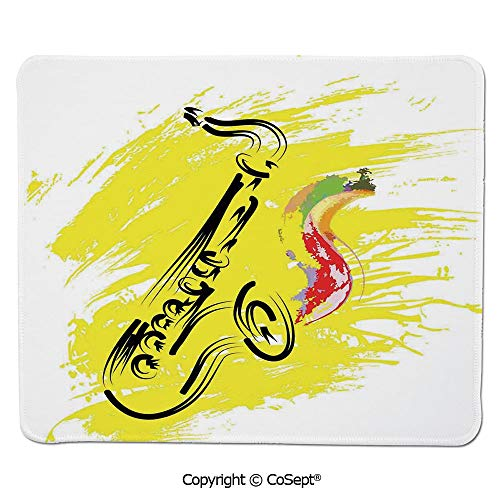 (Gaming Mouse Pad,Stylized Saxophone Color Paint Splash Background Artistic Design Illustration,Water-Resistant,Non-Slip Base,Ideal for Gaming (7.87