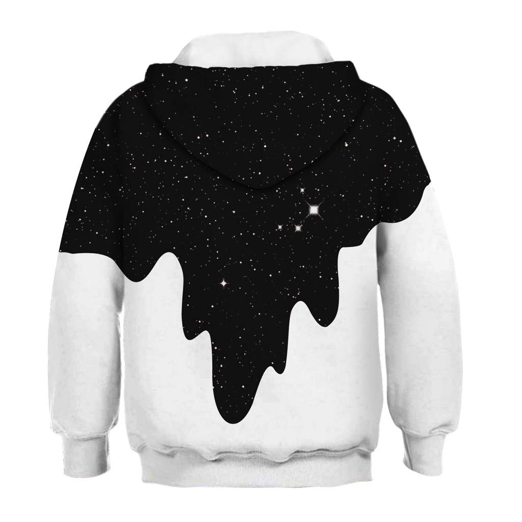 Puyujin Teen Kids Girl Boy Galaxy Fleece Print Cartoon Sweatshirt Pocket Pullover Hoodie