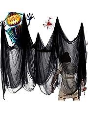 Dioxide Griezelige stof griezelige kaasdoek katoen mousseline doeken Halloween decoratie voor spuk huis party deuren outdoor (zwart, 215 x 600 cm)