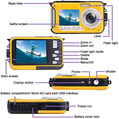 Underwater Camera Full HD 2.7K 48MP Waterproof Camera for Snorkeling Dual Screen Waterproof Camera Digital with Self-Timer and 16X Digital Zoom (Yellow)