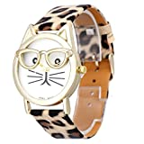FTXJ Women Watch, Cute Glasses Kitty Analog Quartz Dial Leopard Wrist Watch Khaki