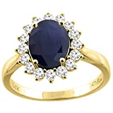 14K Yellow Gold Natural Blue Sapphire Ring Oval 9x7 mm Diamond Accents, size 7