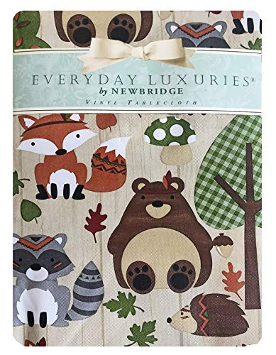 Newbridge Woodsy Animal Friends Fall and Thanksgiving Vinyl Flannel Backed Tablecloth – Whimsical Forest Creatures Kitchen and Dining Room Print Easy Care Print Tablecloth, 60″ x 84″ Oblong/Rectangle