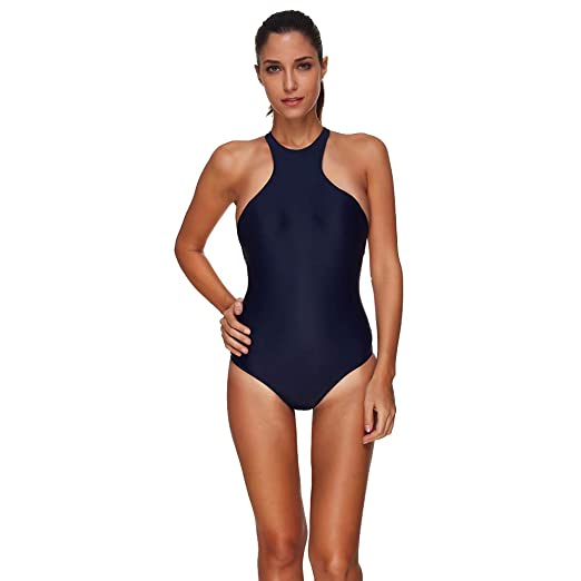 f3209421dd GzxtLTX Women's One Piece Swimwear Solid Color Athletic Conservative  Swimsuit Bathing Suit (M, Dark