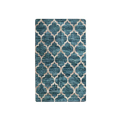 - Lahome Moroccan Area Rug - 2' X 3' Faux Wool Non-Slip Area Rug Small Accent Distressed Throw Rugs Floor Carpet for Door Mat Entryway Bedrooms Laundry Room Decor (2' X 3', Blue)